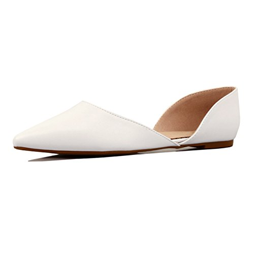 Guilty Heart - Women's D'Orsay Almond Pointed Toe Slip On Casual Flats, 01 White Pu, 7 B(M) (Toe Flat Women Shoes)