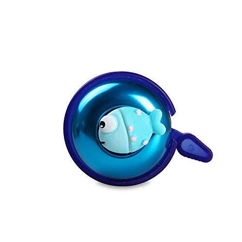 Mini-Factory Bike Bell for Kids, Bicycle Handlebar Cute 3D Blue Fish Pattern Children's Bike Safe Cycling Ring Horn for Boy – Blue Fish