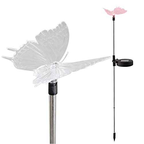 Candle Choice Color Changing Solar Garden Stake Light with Vivid Figurine - Butterfly, LED Garden Light, Landscape Light, In-ground light Outdoor Light for Garden Decoration and Flower Beds