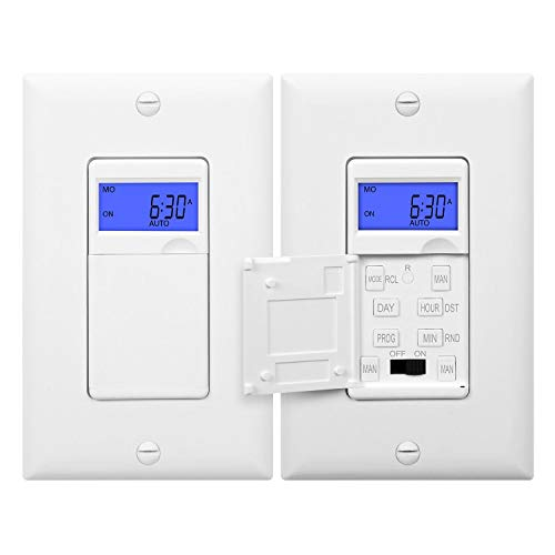(Enerlites HET01 7 Days Digital In-Wall  Programmable Timer Switch with Blue Backlight, White, 2-Pack)