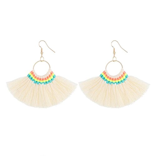 - ManxiVoo Womens Tassel Hoop Earrings Fan-shaped Dangle Earrings for Girls Fringe Drop Earrings (White)