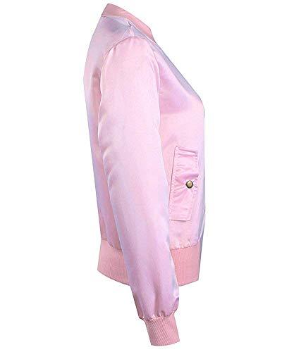 Solide coloré Taille X Oudan Rose Femme Veste De large Bricolage U8qUnt1X0