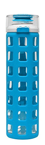(Ello Syndicate 20-Ounce BPA-Free Glass Water Bottle with Flip Lid, Cobalt)