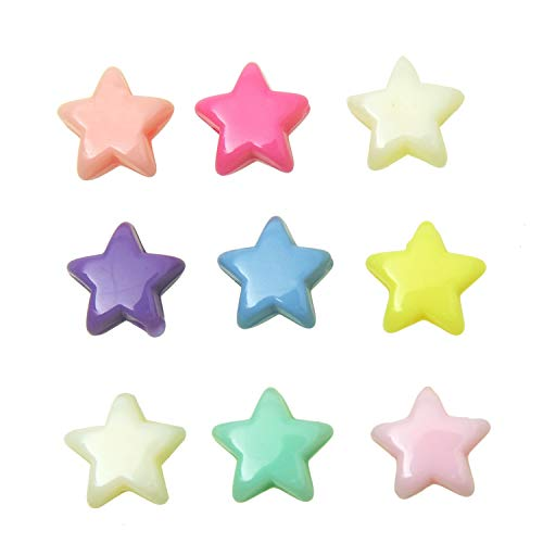 Monrocco 500pcs Assorted Star Beads Acrylic Star Beads Plastic Beads with Center Hole for Jewelry Making(7x12mm)]()