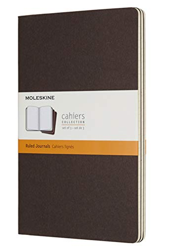Moleskine Cahier Journal, Soft Cover, Large (5 x 8.25) Ruled/Lined, Coffee Brown (Set of 3)