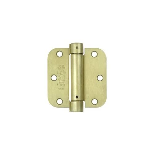 (Pack of 2) Satin Brass 3.5 Inch X 3.5 Inch with 5/8 Radius Spring Door Hinges