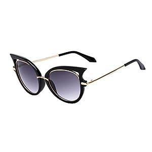 QingFan Women Men Summer Vintage Retro Cat Eye Glasses Unisex Fashion Sunglasses Kids Metal Frame (G, 65)
