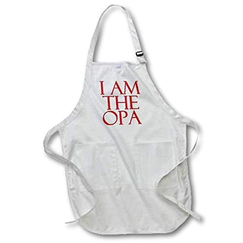 Red with Pockets apr/_193302/_1 White 3dRose I Am The Opa 22 by 30-Inch - Full Length Apron