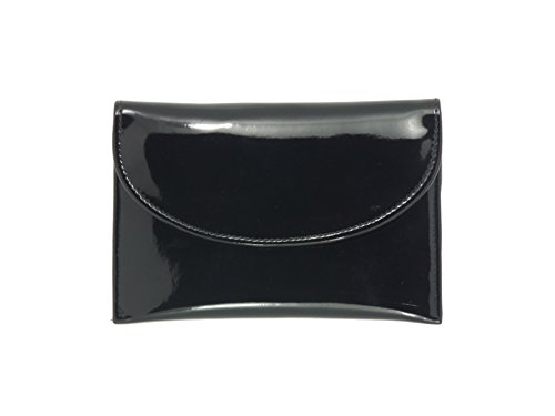 LONI Ladies Faux Patent Leather Wallet Clutch Bag Purse Coin Pouch in Black