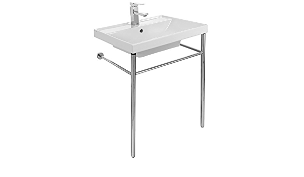 Scarabeo 3004 Con One Hole Ml Rectangular Ceramic Console Sink And Polished Chrome Stand White Amazon Com