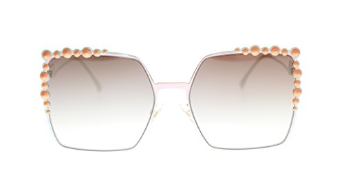 Fendi Womens Sunglasses FF0259S 35J Pink/Brown Mirror Gradient Lens Square 60mm Authentic
