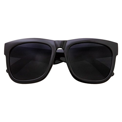 XL Men's Big Wide Frame Black Sunglasses - Oversized Thick Extra Large Square (Matte Black)
