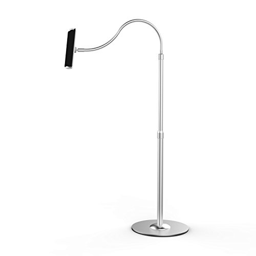 UPERGO Floor Stand for Cell Phones, Tablets and E-Readers, Height Adjustable, Flexible Gooseneck(UP-9S), Silver