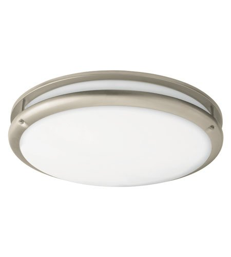 Lighting by AFX CSC22NT Contemporary 1-22 Watt Round Flush Mount Light, Nickel Finish Trim with White Acrylic Diffuser