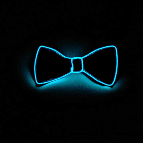 Halloween LED Light Bow Tie Light Up Neck Bow Tie Men/Boys Neon Nightlife Light Up Bow Tie - for Any Occasion, Theme Party, Masquerade Party,Family Gathering,etc (Sky Blue)