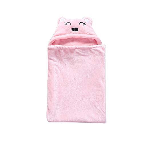 (lightclub Cute Bear Soft Hooded Bathrobe Bathing Towel Infant Baby Blanket Receiving Swaddle Wrap)