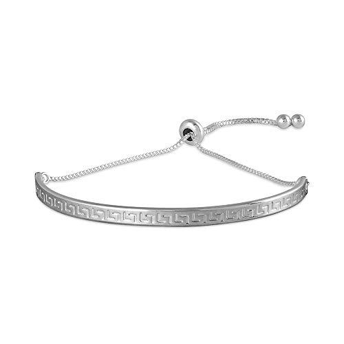 - LeCalla Sterling Silver Jewelry Sliding Greek Key Bolo Bracelet for Women
