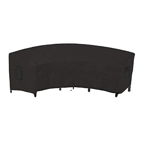 Linkool Outdoor Furniture Covers Patio Sectional Curved Couch Protector Black Waterproof for Half-Moon Sofa Sets 190x36x39 inches (Seating Curved Patio)