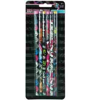 Monster High Wood Pencil 6 Pk (7 Piece/Pack) - 6970MH