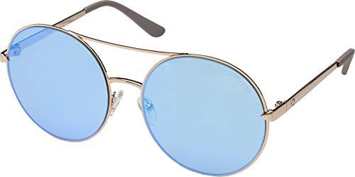 (GUESS Women's Gu7559 Aviator Sunglasses, Shiny Rose Gold & Blue Mirror, 60 mm)