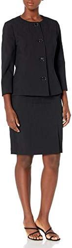 LeSuit Womens 4 Button Jewel Neck Seamed Texture Jacquard Slim Skirt Suit Suit - Skirt Set