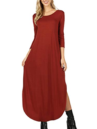 (MixMatchy Women's 3/4 Sleeve Side Slit Long Maxi Dresses Fired Brick L)