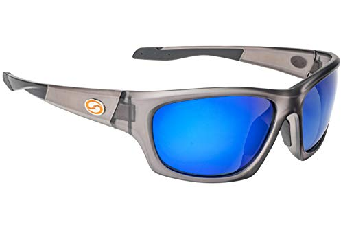 Strike King Plus Cypress Polarized Sunglasses, UVA/UVB Protection, Matte Translucent Crystal Frame, Multi-Layer White Blue Mirror Gray Base Lens (Lure Eyes Sunglasses)