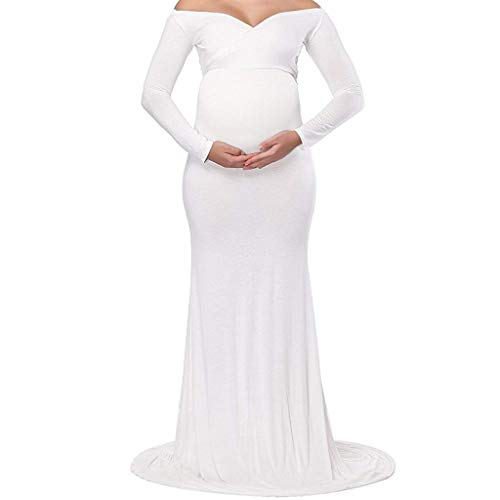 ICE Cream Women's Maternity Fitted Gown Cross-Front V Neck Ruched Long Sleeve Maxi Photography Dress Long Dress for Mother - Pregnancy Cream Ice