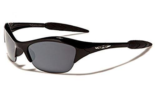 Kinder X-Loop (Jungen/Mädchen) Umwickeln Semi RAHMENLOS Komfort Sport Sonnenbrille bietet volle UV400 Schutz geeignet 4 bis 10 Jahre - Schwarz, Kinder, Kids