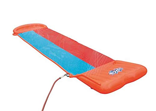 Bestway H2OGO! Double Inflatable Water Slide for Outdoor Summer Family Fun Party with Speed Ramp, Orange/Blue by Bestway