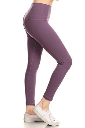 Leggings Depot Premium High Waisted Tummy Control Yoga Leggings with Hidden Pocket and Cotton Rib Leggings