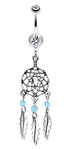 Classic Beaded Dream Catcher Belly Button Ring - 14 GA (1.6mm) - Clear/Aqua - Sold Individually -