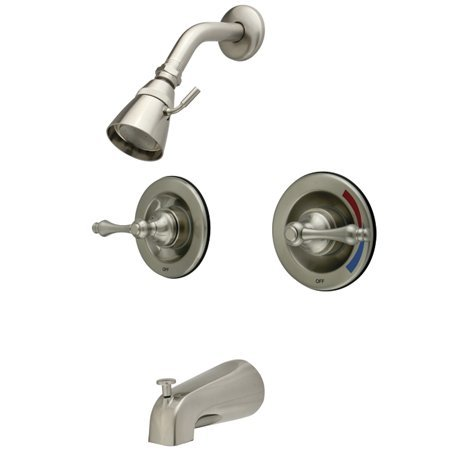 Kingston Brass GKB668AL Water Saving Vintage Tub & Shower Faucet with Pressure Balanced Valve, Satin Nickel - Nickel Pressure Tub