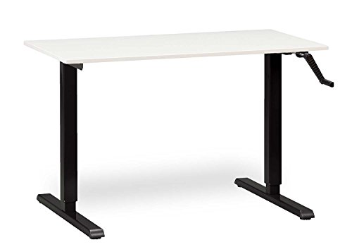 Safco Adjustable Stand Height - MultiTable Height Adjustable Crank Standing Desk with Black Frame + Medium Desktop 24