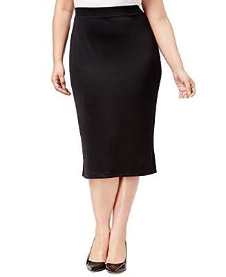 Kasper Women's Plus Pull-On Midi Straight Skirt