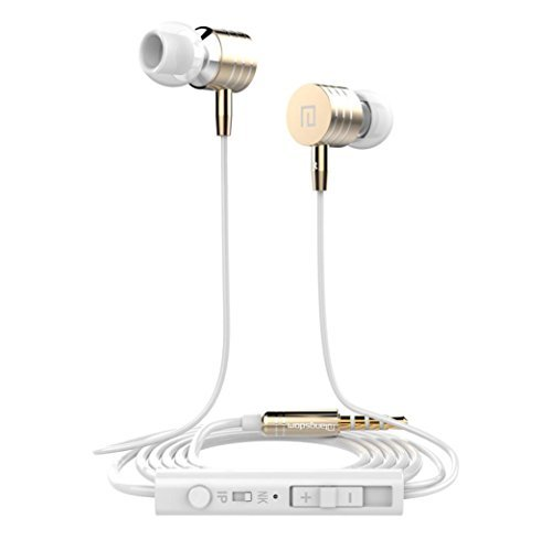 Price comparison product image Earbuds Headphone, TOOPOOT 3.5mm Jack In-Ear Wired Earphone with Mic Headphone for Samsung Iphone (gold)