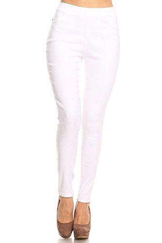 Jvini Women's Pull-On Stretch Legging Pants Denim Jean (Small, White-No Rip)