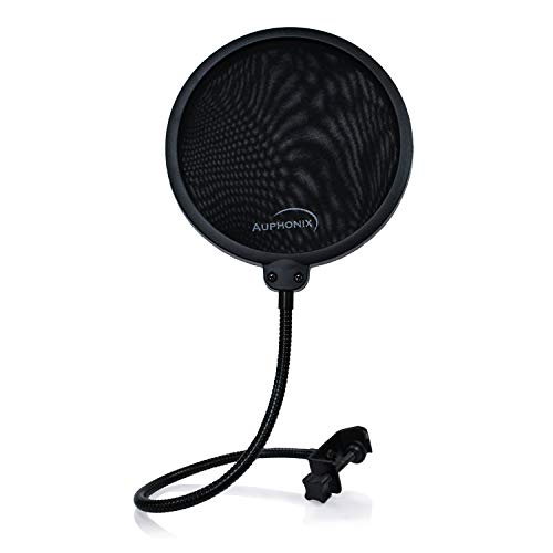 AUPHONIX Microphone Pop Filter (MPF-1) - Easy-On 6inch Shield for Powerful Vocals Blocks Thud, Pop, BP Plosives, S Hiss for Clear as a Bell Sound - Double Optimized Mesh Filter Windscreen Cover Mask