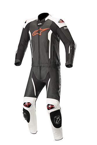 Missile Leather Racing 2-Piece Motorcycle Suit for Tech-Air Race Airbag System (60 EU, Black White Red Fluo)