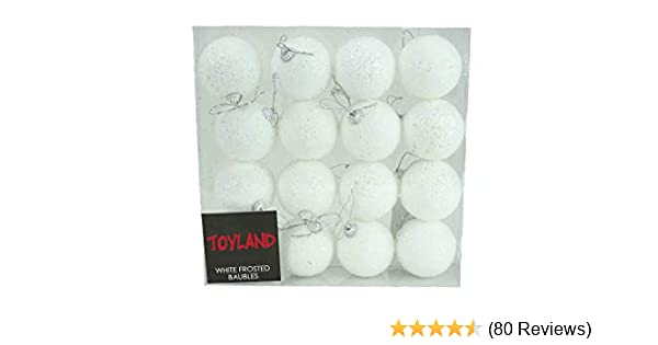 4pack 7cm White Frosted Glitter Baubles Perfect For Frozen Party PM187