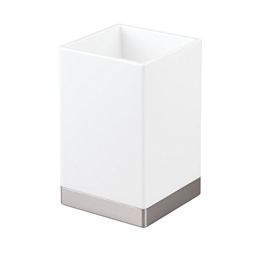 InterDesign Clarity Solid Toothbrush Holder/Stand for the Bathroom, Made of Plastic, White and Brushed 41182