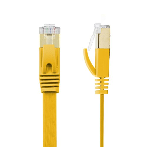 (Buhbo 1 ft CAT7 Flat Ethernet Cable Shielded STP Network Snagless Cable RJ45 Cat 7, Yellow )