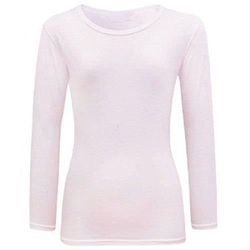 Longue Ael Enfant Coton Extensible shirt Neuf Manche Fille Blanc Uni T OrF0wOPq