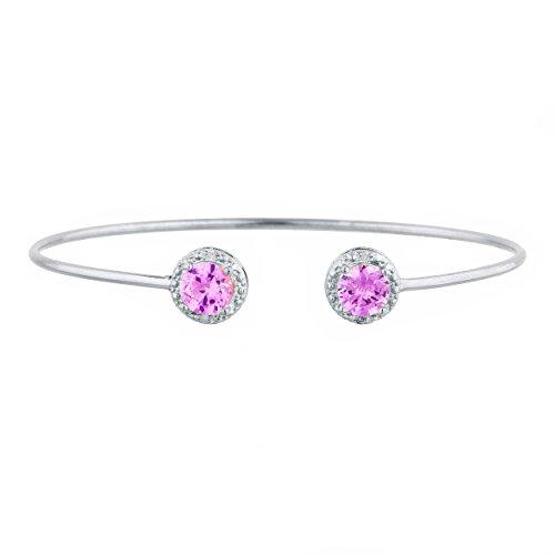 (2 Ct Pink Sapphire & Diamond Round Bangle Bracelet .925 Sterling)