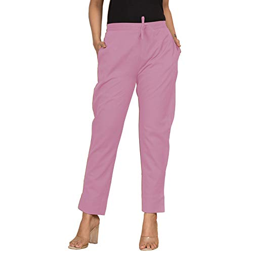 NTX Cotton Flex Ankle Length Trouser Pants/Pencil Pants for Women (NTX-F18-Baby Pink)