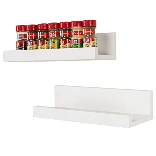 MyGift 16-Inch White Wood Wall-Mounted Spice Rack Shelves, Set of 2