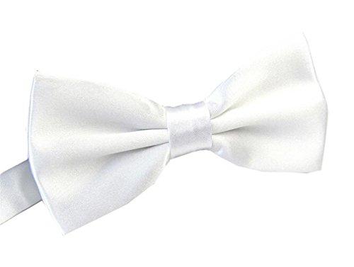 Men's Pre Tied Bow Ties for Wedding Party Fancy Plain Adjustable Bowties Necktie (White)