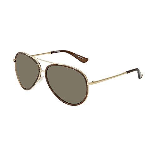 Salvatore Ferragamo Mens Designer Non-Polarized Aviator Sunglasses Brown