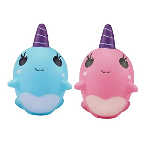 Ouflow 2PCS Squishies Slow Rising Narwhal Kawaii Unicorn Sof