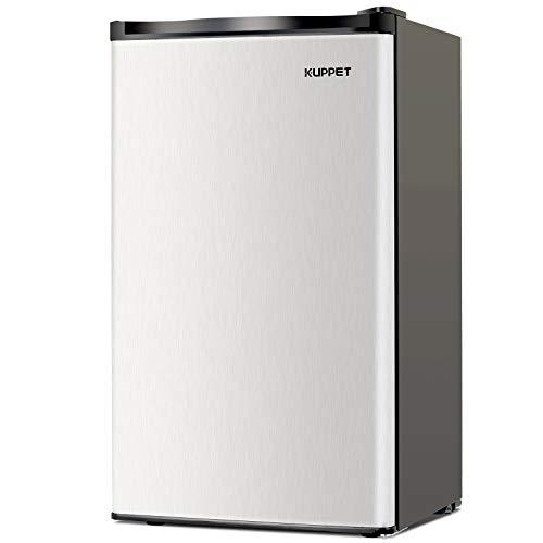 Kuppet-Mini Refrigerator Compact Refrigerator-Small Drink Food Storage Machine for Dorm, Garage, Camper, Basement or Office, Single Door Mini Fridge, 3.2 Cu.Ft,Stainless ()